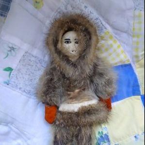 Ivory&seal fur Shishmaref doll hand made in Alaska
